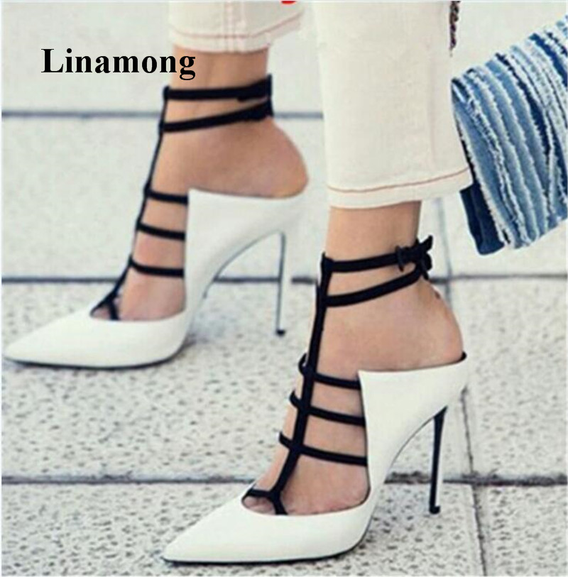 2018 Summer Fashion Foot Cover Women Pumps Pointed Toe Casual Lace-Up Thin High Heels Pumps Black And White Splice Women Pumps trendy women s pumps with pure colour and lace up design