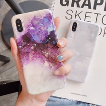 Purple crystal Marble Case for iphone X XR XS Max case Glossy soft TPU 6 6s 7 8 7plus cover capa funda