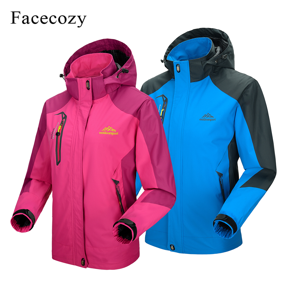 Facecozy Men Women Spring Outdoor Waterproof Hiking Jacket Sports Trekking Hooded Climbing Clothes Unisex Camping Fishing Coats