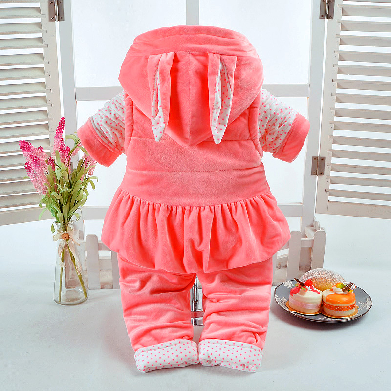 New Autumn & Winter Baby Girl Clothes Set Rabbit Style Add Cotton-Padded Warm 0-2T Newborn Infant Baby 3Pcs/Set Walking Dress