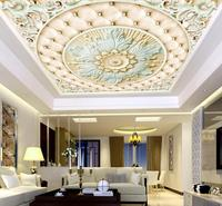 European Roman Ceiling Wallpaper Murals 3D Photo Wallpaper Flower Relief Wallpaper For Bedroom Walls 3D Ceiling