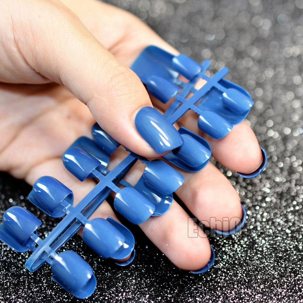 Fashion Flat Fake Nail Dark Blue Full Cover False Nail Tips Short ...