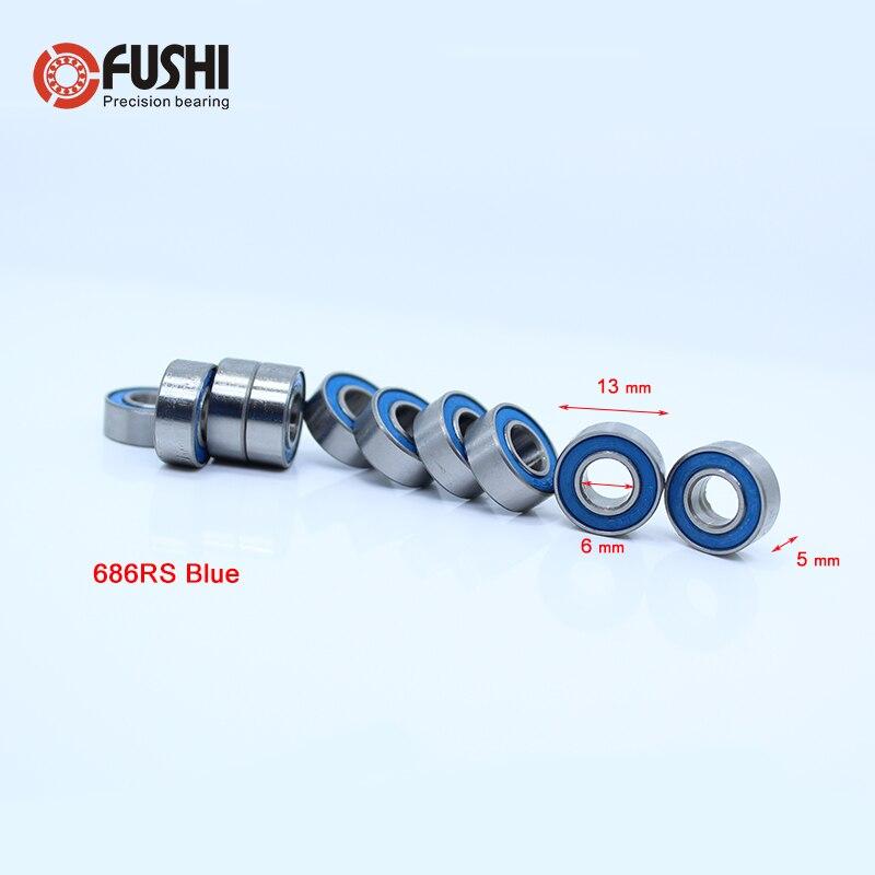 686-2RS Bearing ABEC-3 ( 10 PCS ) 6x13x5 mm Miniature 686RS Ball Bearings 618/6RS Blue Sealed 686 2RS Rulman 1pcs fishing reel bearing s686 2rs abec 7 6 13 5 stainless steel hybrid ceramic ball bearings s686rs s686 2rs cb 6x13x5 mm