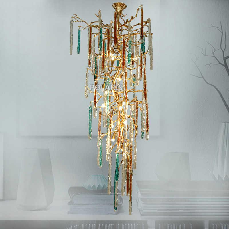 Современная медная люстра-канделябр светодиодный люстры стеклянная люстра Медный Подвесной светильник для гостиной столовой