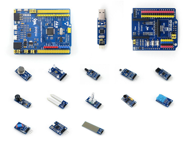 STM32 Board XNUCLEO-F411RE Compatible with NUCLEO-F411RE +ST-LINK/V2 +IO Expansion Shield + Sensor Modules