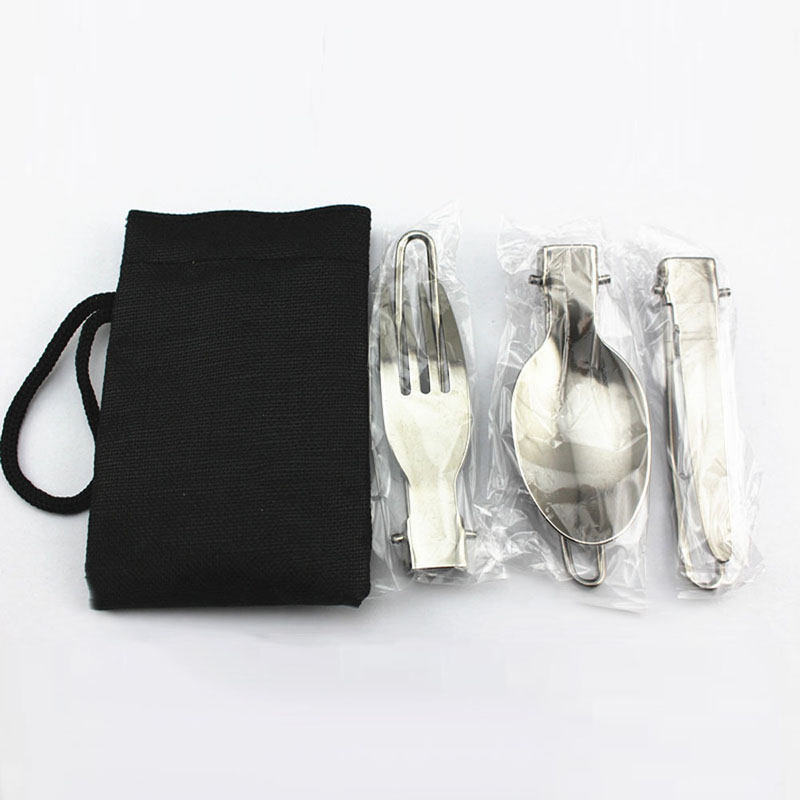 Camping & Hiking Outdoor Picnic 2set Of Camping Picnic Tableware Stainless Steel Folding Fork And Spoon Tab