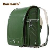 Детская школьная сумка colomb для детей, зеленые ортопедические рюкзаки, Mochilas Infantis Randoseru, однотонная сумка из искусственной кожи для девочек и