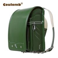 Coulomb Children's School Bag For Kid Green Backpacks Orthopedic Mochilas Infantis Randoseru Solid PU Girl And Boys Bag 2017 New