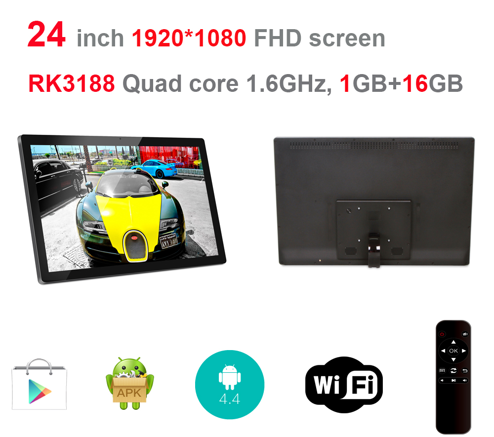 24 Inch Android Digital Signage Display With Remote (No Touch, No Camera, Quad Core, 1.6Ghz, 1GB DDR3, 16GB Nand Flash, BT)