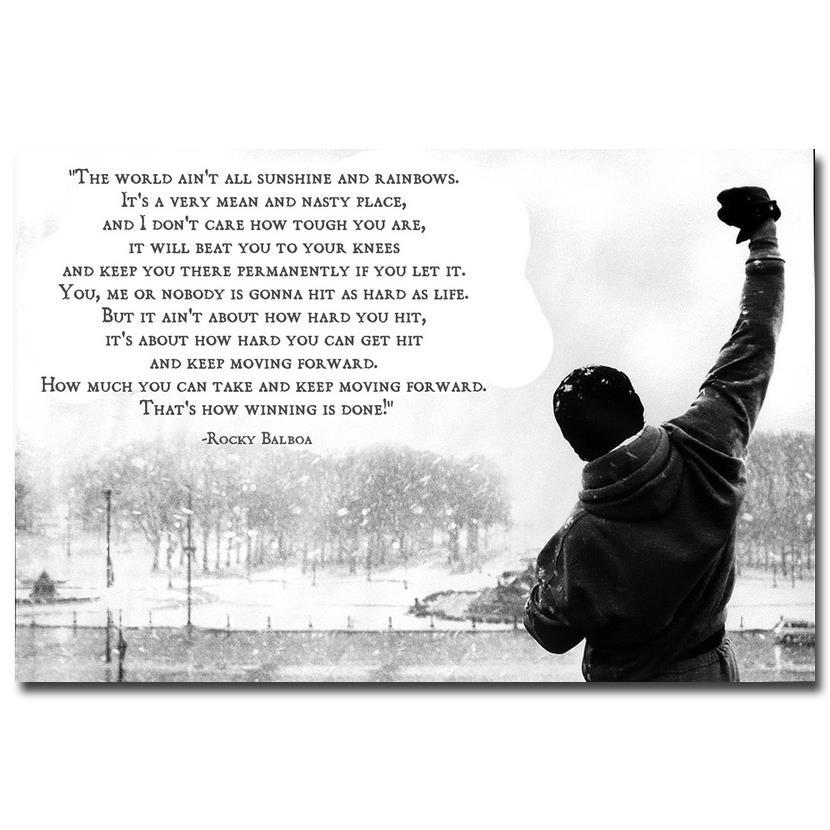 NICOLESHENTING ROCKY BALBOA - Motivational Quotes Art Silk Poster Print 13x20 24x36inch Inspirerende Foto Wall Decor