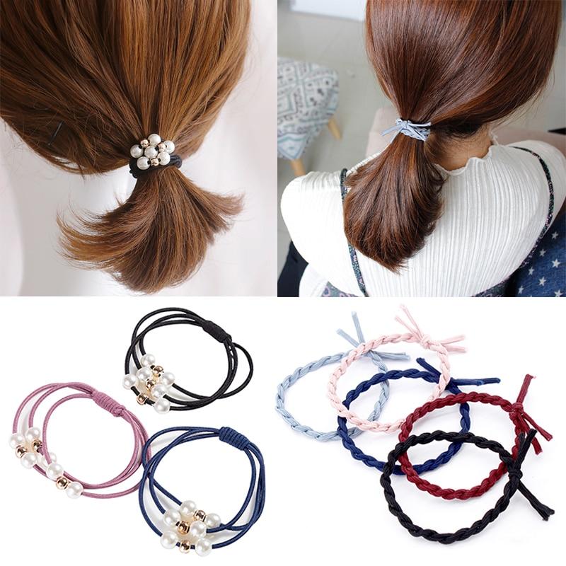 LNRRABC Pearl Women Girls Fashion  Hair Rope Headwear Elastic Hair Bands Hair Accessories