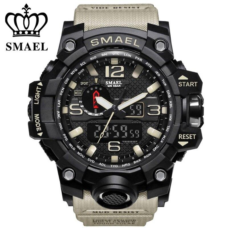 Smael marque hommes montres de sport double affichage analogique numérique led électronique montres à quartz 50 m étanche de natation watch1545 horloge