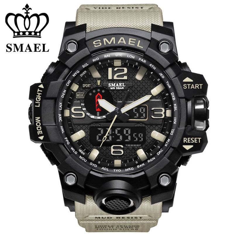 Prix pour Smael marque hommes montres de sport double affichage analogique numérique led électronique montres à quartz 50 m étanche de natation watch1545 horloge