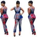 Женщины африканских 2 шт. набор костюм Африканских Племен печати Dashiki набор женщина комплект одежды 2016 долго blusa и брюки ансамбль femme