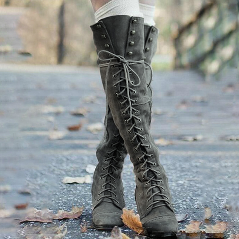 Mujer Tacones De Gótico gray Lace coffee Media Bloque Negro Grande Tamaño Otoño Sexy Up Largas Black Botas Zapatos Señoras Invierno 43 Pantorrilla Moda qCP1wW5Ot