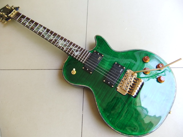 New Arrival 6 String Cnbald custom electric guitar with abalone dragon inlay / with floyd tremolo top quality in green 110508 new arrival high quality red jackson electric guitar china with floyd rose tremolo lefty available
