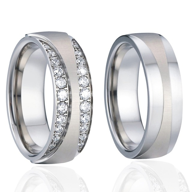 Unique Mens Wedding Band Engagement Rings Silver Color anillos anel bague femme homme Alliances Couple Rings for women