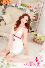 Chinese Style Cheongsam Short Dress White Nightwear Women Chemises Polyamide Nylon Baby Doll Sexy Lingerie For Sex Game Pack