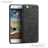 LANGSIDI brand phone case ostrich grain full wrapped phone case For Huawei nova2 plus phone case full handmade custom processing