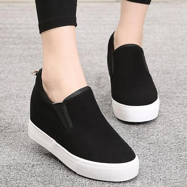 {D&H}Brand Women Shoes Suede  Slip-On Hidden Wedge Heels Fashion Women's Elevator Shoes Casual Shoes Winter Fur Warm Shoes
