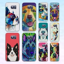 Border Collie Colorful Husky Dog Art pug life transparent clear hard case cover for Samsung Galaxy s6 s7 edge s4 s5 mini note 4