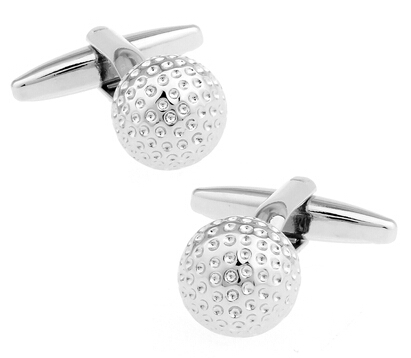 Free Shipping Golf Cuff Links Silver Color Copper Sport Ball Design Best Gift For Men Cuff Links Wholesale&retail