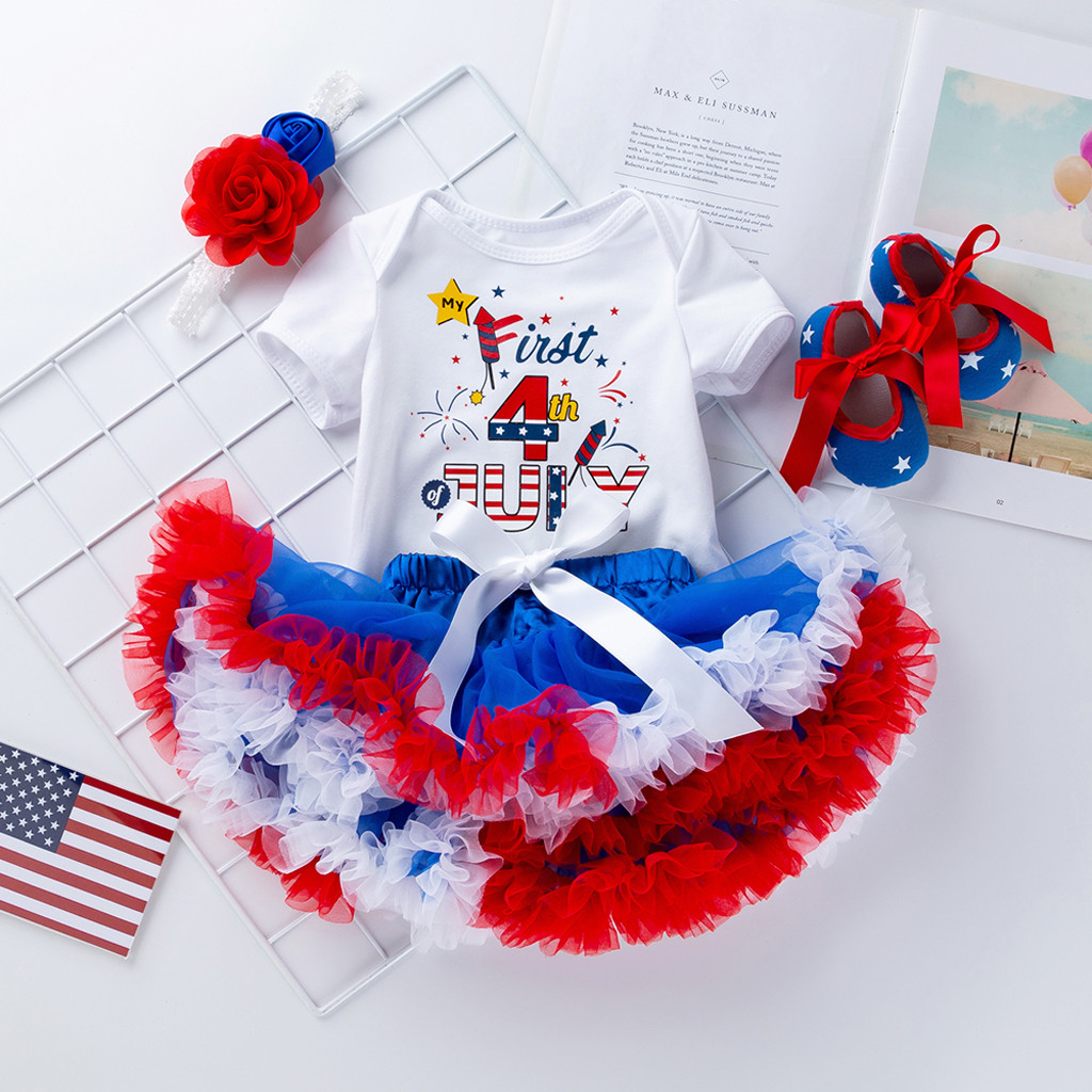 ef25254aa 4PCS Newborn Baby Girl Clothes 2019 Carters Baby Girl 4th Of July Outfits  Letter Print Romper+Tutu Skirt jupe tutu fille Set