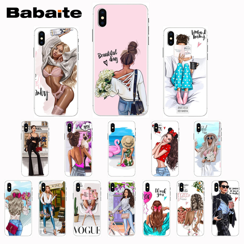 Babaite VOGUE dame reise Transparent Telefon Fall für <font><b>iPhone</b></font> 8 7 6 6S Plus <font><b>X</b></font> <font><b>XS</b></font> <font><b>MAX</b></font> 5 5S SE XR 10 Cases11 11pro 11promax image