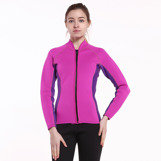 2018 Women s Wetsuit Top Jacket Neoprene for Women 2mm Long Sleeves Front  Zip Diving Snorkeling Surfing Kayaking Canoeing Pink b496ba38f