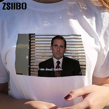 2019 fashion White Tee the Office Michael Scott T-Shirt Unisex Tumblr Grunge I Am Dead Inside Quotes Funny t-shirt women clothes