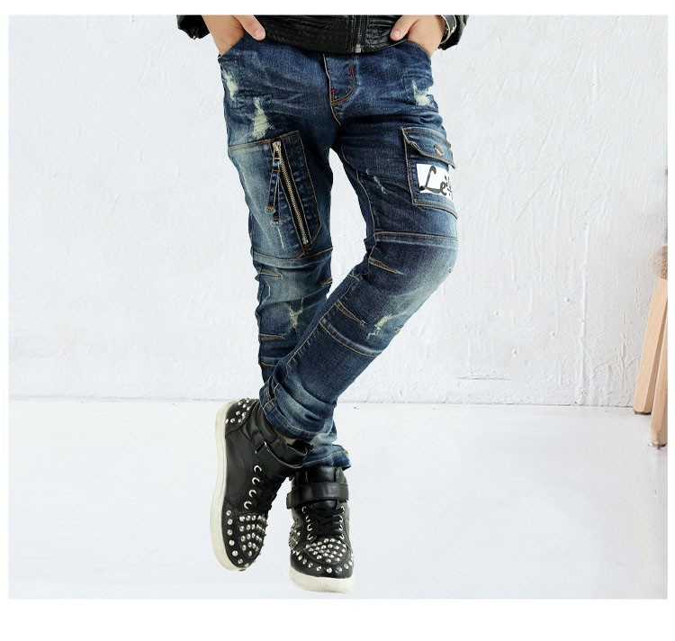 fashion 2017 spring autumn kids letter jeans boys pants kid clothes mid elastic waist children denim pant clothing for teenagers bottom clothees 6 7 8 9 10 11 12 13 14 15 16 years old (6)