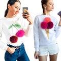 2017 otoño invierno nuevo de las mujeres de moda lindo de la felpa bola cono de helado impresa cuello redondo de manga larga Sudaderas hoodies coat