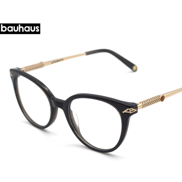 21b25f3aab2 bauhaus 2018 Round Fashion Brand Eyeglasses Full Frame Glasses Acetate  Glasses Frame Men Women Glasses Metal