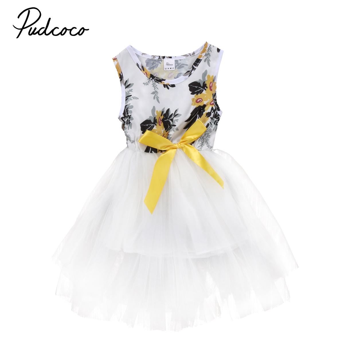 Fashion Summer Baby Girls Toddler Kids Sleeveless Bowknot Dresses Party Princess Wedding Tutu Tulle Ball Gown Flower Dress 0-5T kids girls bridesmaid wedding toddler baby girl princess dress sleeveless sequin flower prom party ball gown formal party xd24 c