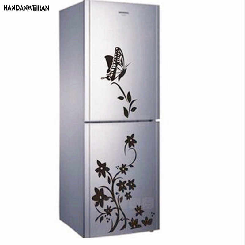 1PCS 3D Butterfly Refrigerator Wall Sticker Home Decoration Stickers Flower Vine Wall Paper Room Decal For Home Accessories