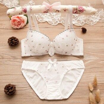 Puberty Girls Lace Dot Cotton Underwear Set Bra Teenage Underwear Small Breast Bra For Teenage Girls цена 2017