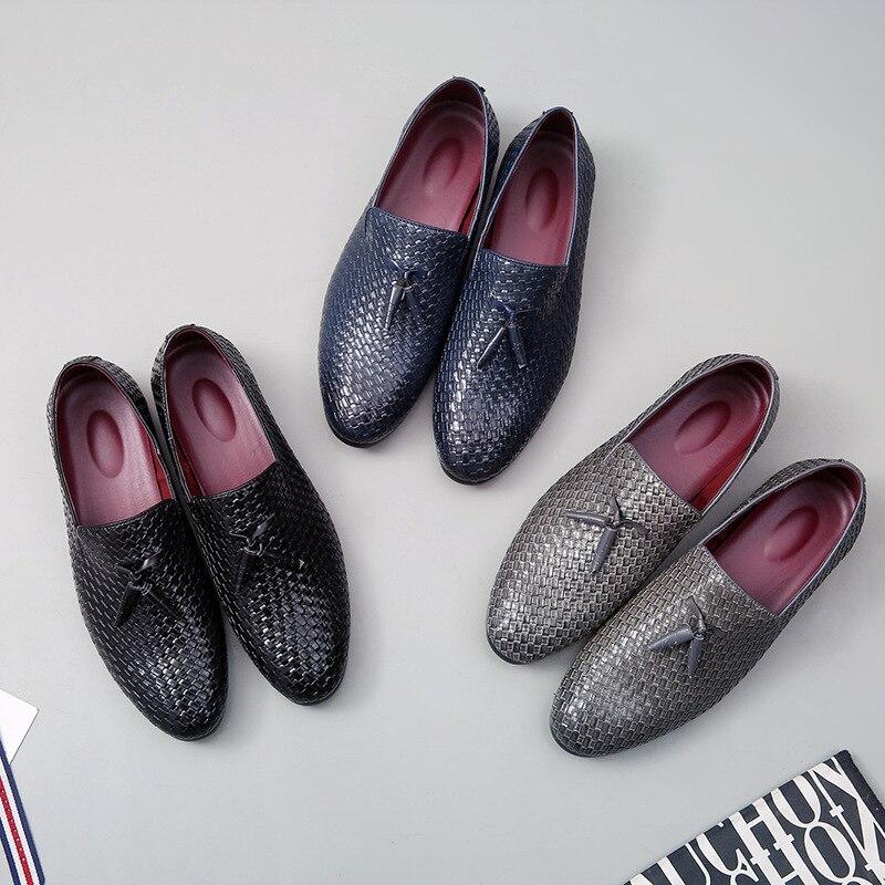 Vårhöst Läder Män Skor Plus Storlek Mäns Loafers Andas Slip-On - Herrskor - Foto 4