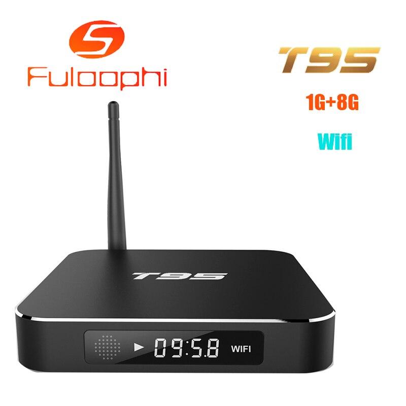 ФОТО  Fuloophi T95 S905 Quad Core TV BOX Metal Case Amlogic Andorid TV BOX 1GB/8GB 2.4GHz WiFi Full Loaded ADD ONS