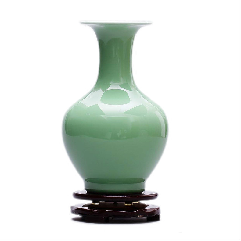 Vintage Ceramic Vase Home Decoration Chinese Shadow Green Glaze Porcelain Vase Flower Decoration Adornment Furnishing Articles