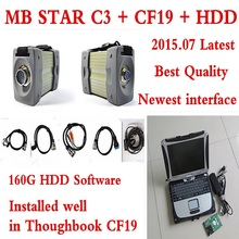 Top-rated Toughbook Panasonic CF 19 laptop with MB STAR C3 2015.07 latest software installed in HDD for MB Star C3 diagnostic to