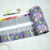 72 Renk Kalem Etnik Renkli Artpack; 72 Rulo Kalem Kutusu Rulo Kılıfı Cep Paketi ile Silgi, Sharpner ve genişletici