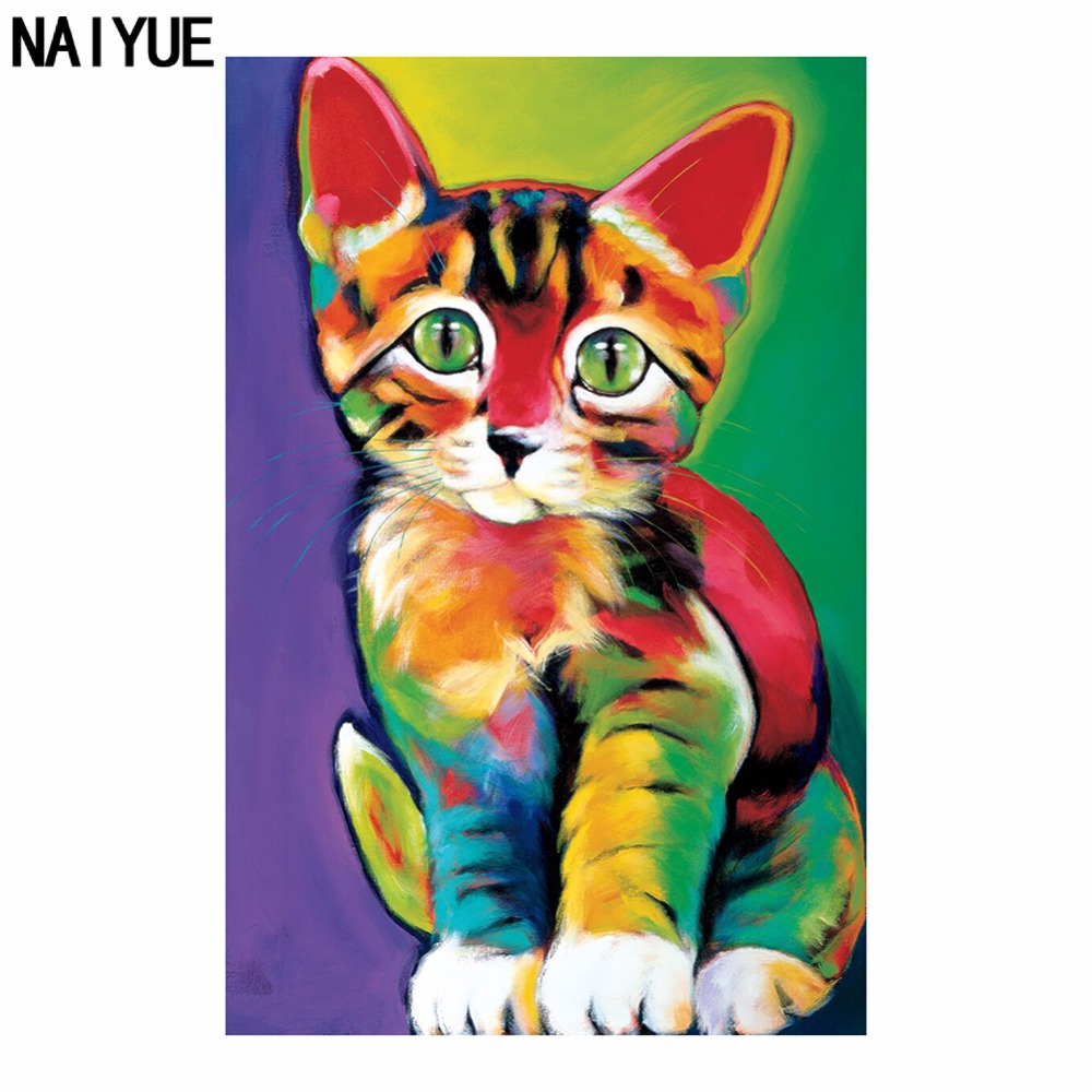 NAIYUE DIY 5D Diamond Painting Cartoon Cat Colors Diamond Embroidery Part  Drill Round Decorate Living Room Painting Wall Sticker