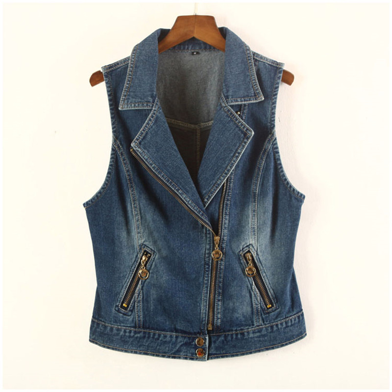 High Quality Cotton Zipper Jeans Jacket For Women Sleeveless Vest Korean Slim Female Waistcoat Coat Summer Women's Denim Vest