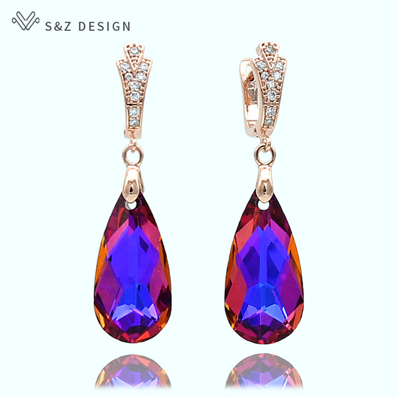 S&Z New 6 Colorful Imitation Crystal Long Water Drop Dangle Earrings 585 Gold Color For Women Wedding Party Gift JewelryS&Z New 6 Colorful Imitation Crystal Long Water Drop Dangle Earrings 585 Gold Color For Women Wedding Party Gift Jewelry
