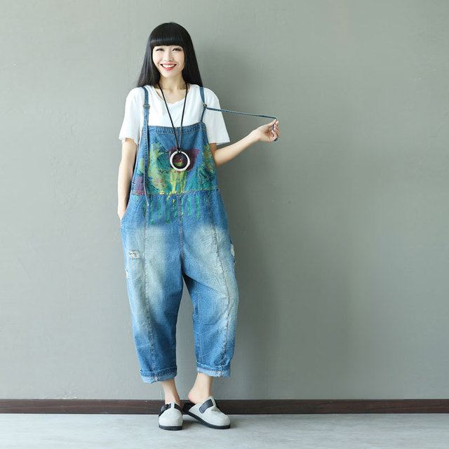 7d08d154337b Color Ink Pattern Denim Jumpsuit for Women Romper Plus Size Loose Casual  Overalls Ripped Hole Destroyed