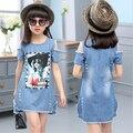 Crianças Vestidos Para Meninas Denim Vestido Strapless Verão Padrão de Vestido de Manga Curta Roupas Meninas Roupas de Criança Denim Camisetas