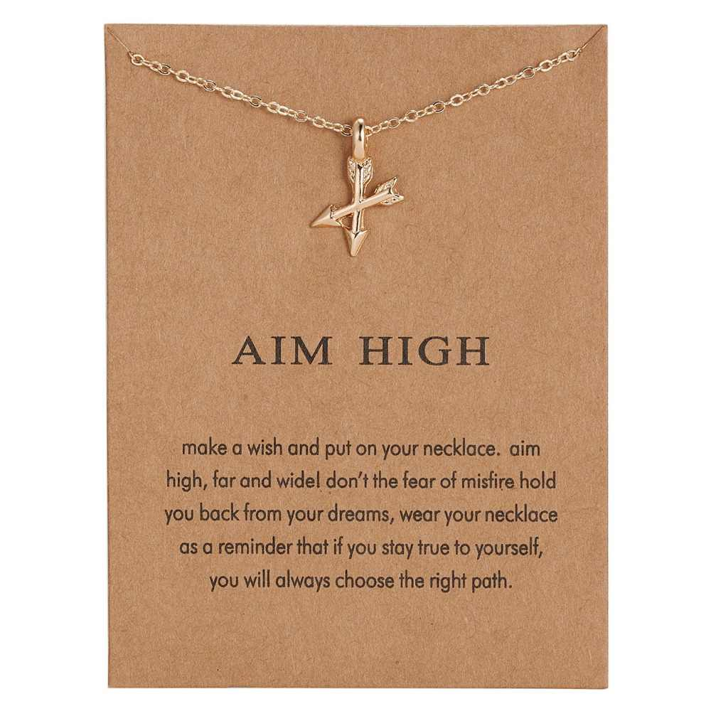 Fashion Aim High Gold-color Crossing Arrows Pendant Necklace For Women Jewelry Valentine's Day Gift with Card