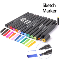 STA 12Colors Double Ended Art Markers Copic Design Mark Pen With Fine And Chisel Dual Tips