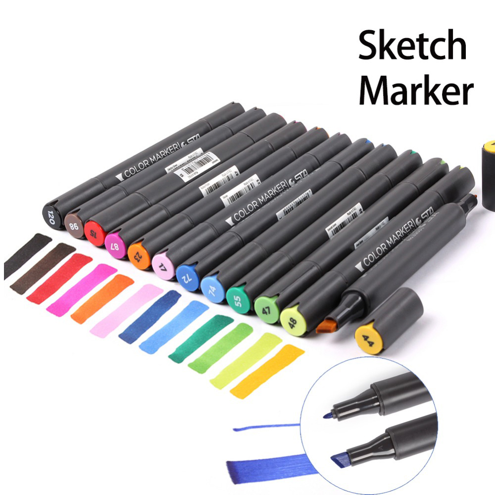 STA 12 Colors Oily Alcoholic Dual Headed Art Marker Set Artist Sketch Markers Pen For Professional Manga Design Drawing sta alcohol sketch markers 60 colors basic set dual head marker pen for drawing manga design art supplies
