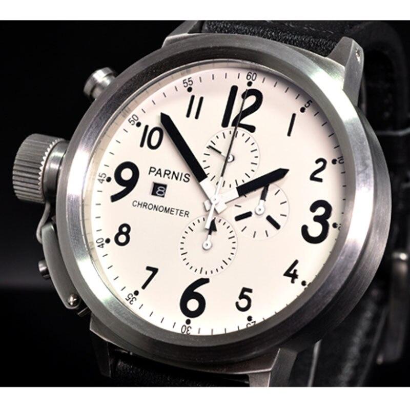 50mm PARNIS White dial Date Steel Case Chronograph Quartz movement mens Watch50mm PARNIS White dial Date Steel Case Chronograph Quartz movement mens Watch